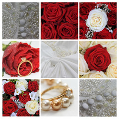Wedding collage in red