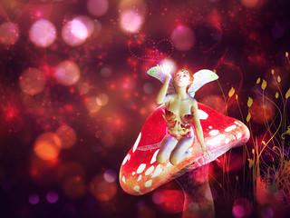 Foto op Aluminium Feeën en elfen Magic mushroom fairy
