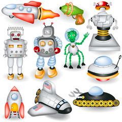 Printed roller blinds Robots retro future icons