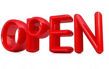 """open"" 3d red text"