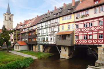 Fototapete - Merchants' Bridge. Erfurt, Germany.