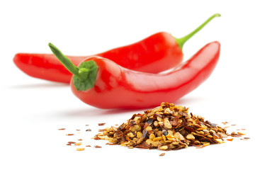 crushed chillies and fresh red chilies