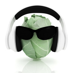 """Green cabbage with sun glass and headphones front """"face"""""""