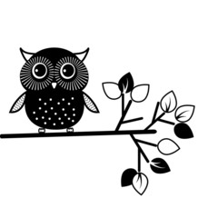 Cute owl, black and white