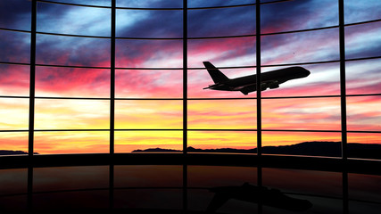 Poster Luchthaven Airport window with airplane flying at sunset