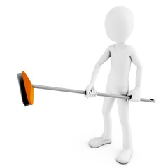 3d man cleaning with broom