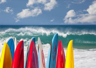 Surfboards at Lumahai beach Kauai