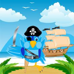 Foto op Plexiglas Piraten Bird pirate ashore tropical island