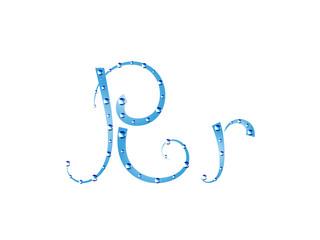 Fairy aqua alphabet. Letter R