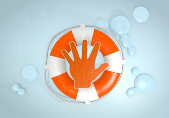 3d graphic of a stopping hand sign rescued by a lifesafer