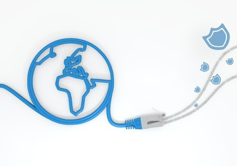 protection icon with network cable and world symbol