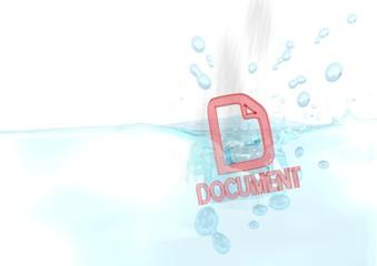 3d render of a wet document symbol fallen into water