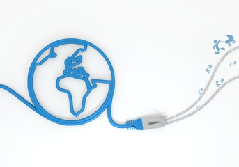 baby buggy symbol with network cable and world symbol