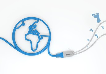 footprint icon with network cable and world symbol