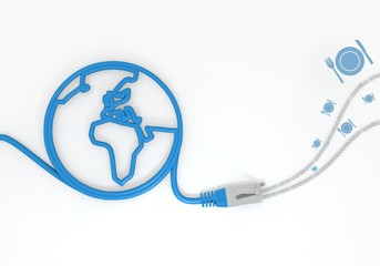 restaurant symbol with network cable and world symbol
