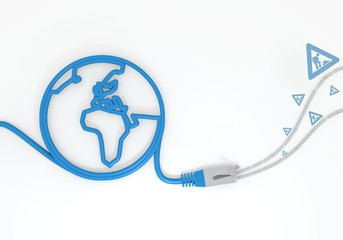 construction site icon with network cable and world symbol