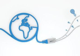 idea icon with network cable and world symbol