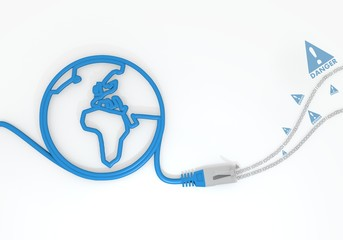 Danger icon with network cable and world symbol