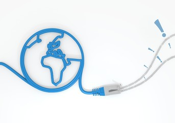 attention symbol with network cable and world symbol