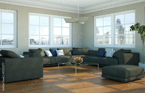 """modernes wohnzimmer, modernes wohnzimmer in stadtwohnung"""" stock photo and royalty-free, Design ideen"""