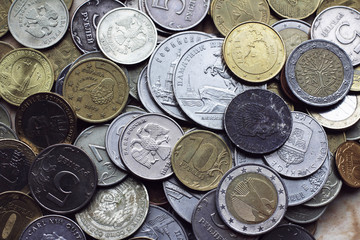 Coins from different countries currency  Euro Dollar Krona RUR