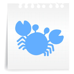 Blue Crab cartoon_on paper Note