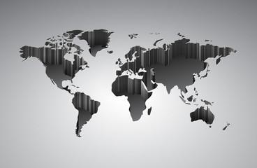 Poster Carte du monde World map with 3d-effect