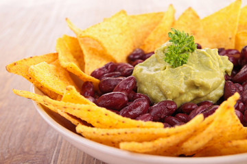 plate of nachos with guacamole