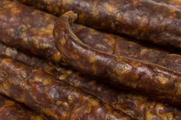 Closeup of smoked and dry sausages