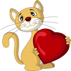 cat with love heart