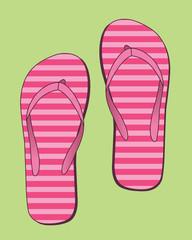 Flip flops with pink stripes