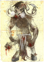 An hand drawn illustration - Minotaur