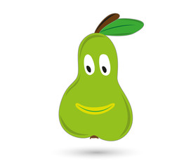 green funny and smiling pear with eyes and mouth