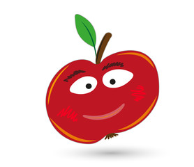 red funny and smiling apple with eyes and mouth