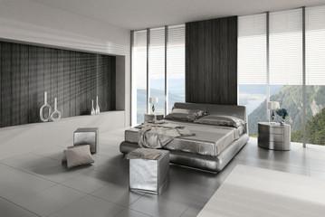 Modern Design Bedroom with Dark Bed