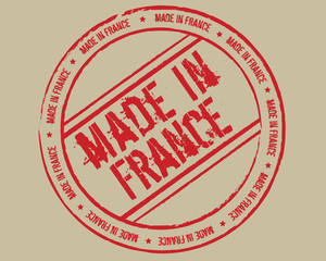 Grunge stamp made in France_red