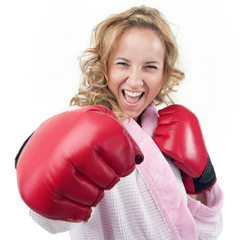 A housewife with boxing gloves