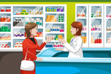 Buying medicine in pharmacy