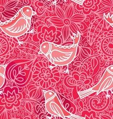 Seamless Texturewith flowers and birds.