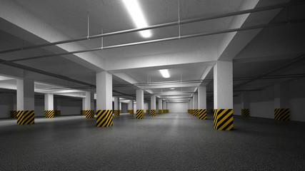 Empty dark underground parking abstract interior