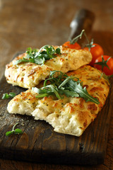Savoury focaccia bread with rocket