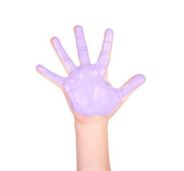 Child's hand with purple paint on it