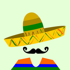 man with handlebar mustache wearing sombrero