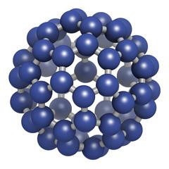Buckminsterfullerene (buckyball, C60), molecular model.