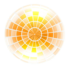 Yellow 3d globe icon with highlights