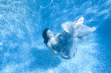 Mermaid Underwater, Beautiful Woman underwater in Aqua Studio