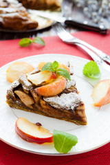 crispy slices of tart with baked apples