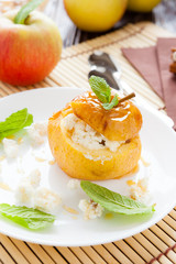 cottage cheese baked in apple with honey syrup