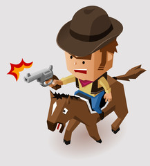 Door stickers Wild West Sheriff with Revolver riding Horse