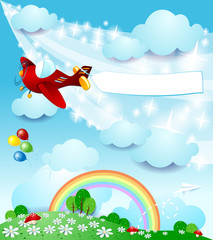 Garden Poster Magic world Spring landscape with airplane and banner